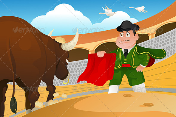 GraphicRiver Matador and a Bull 5684906
