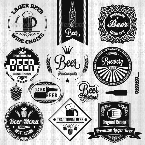 GraphicRiver Vintage Beer Label Set 5685351