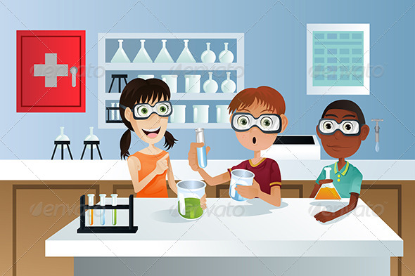 GraphicRiver Students in Science Class 5685408