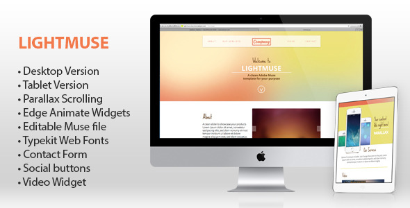 Lightmuse - One Page Muse Template