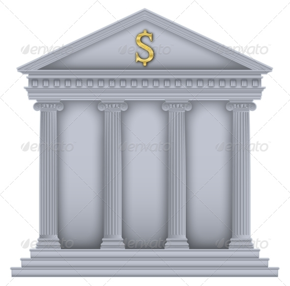 GraphicRiver Roman or Greek Temple Bank Symbol 5685690