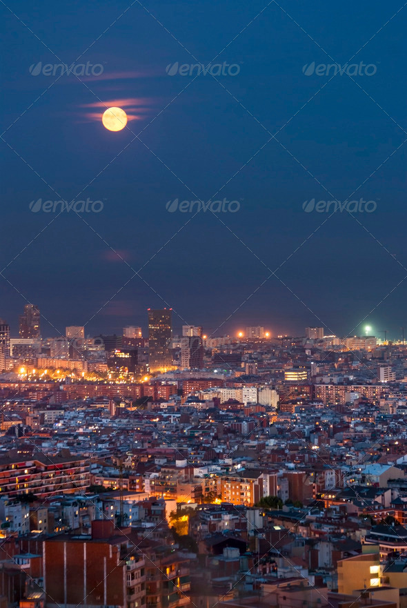 Barcelona at Night, Spain - Stock Photo - Images
