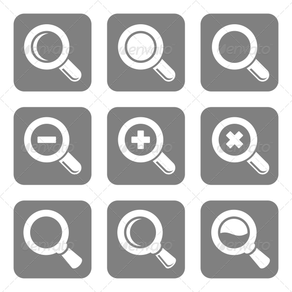 GraphicRiver Vector Magnifier Glass and Zoom Icons Set 5685886