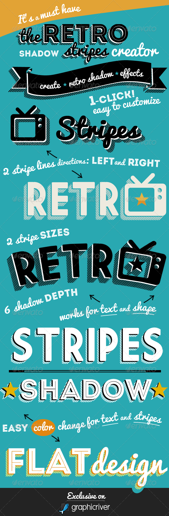 Retro Stripes Shadow Photoshop Creator - Text Effects Styles