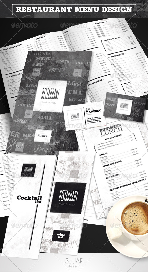 "Restaurant Menu Design ""Meat&Wine"" - Food Menus Print Templates"
