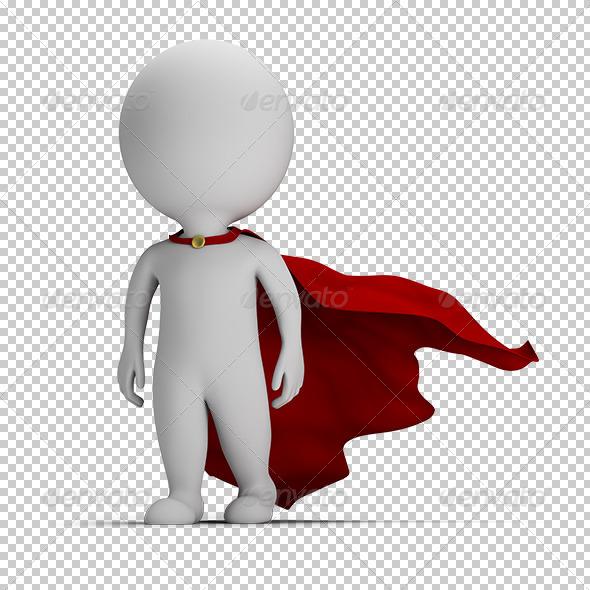 GraphicRiver 3D small people brave superhero 5687491