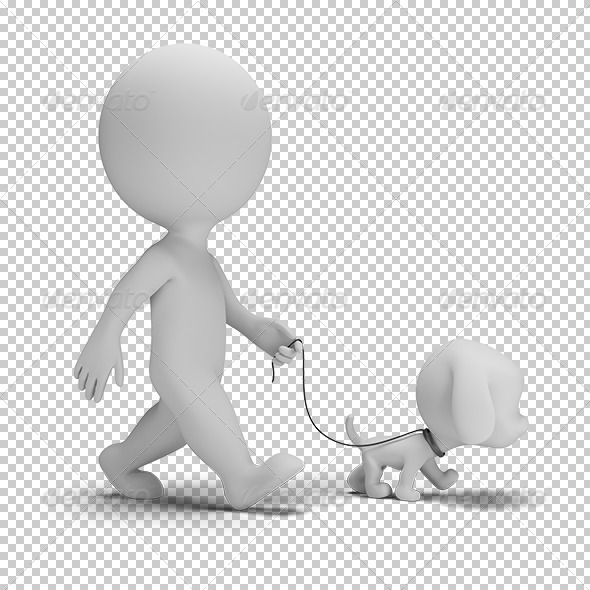GraphicRiver 3D small people walk the dog 5687502