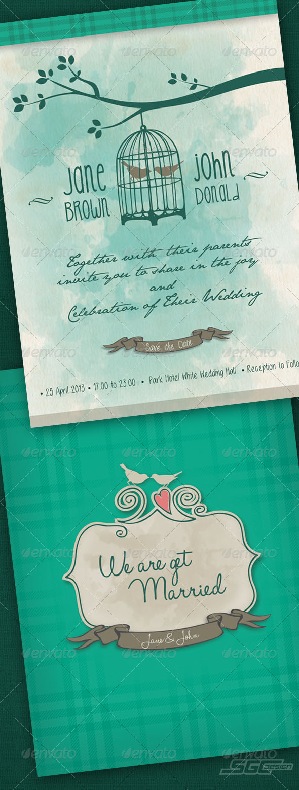 GraphicRiver Watercolor Wedding Invitation 5687670