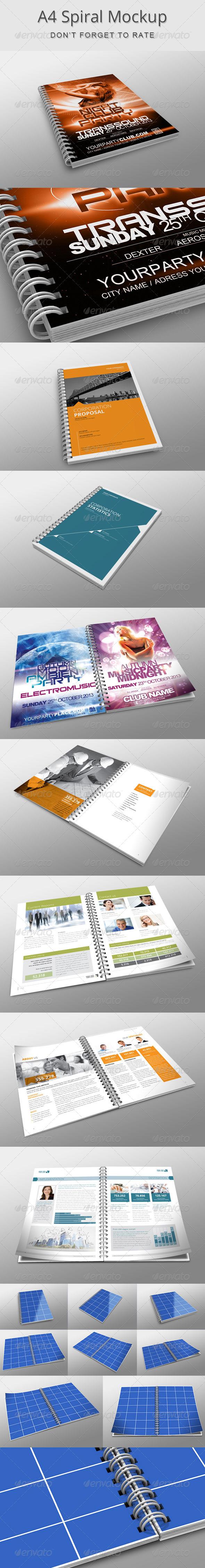 A4 Spiral Mockup - Brochures Print