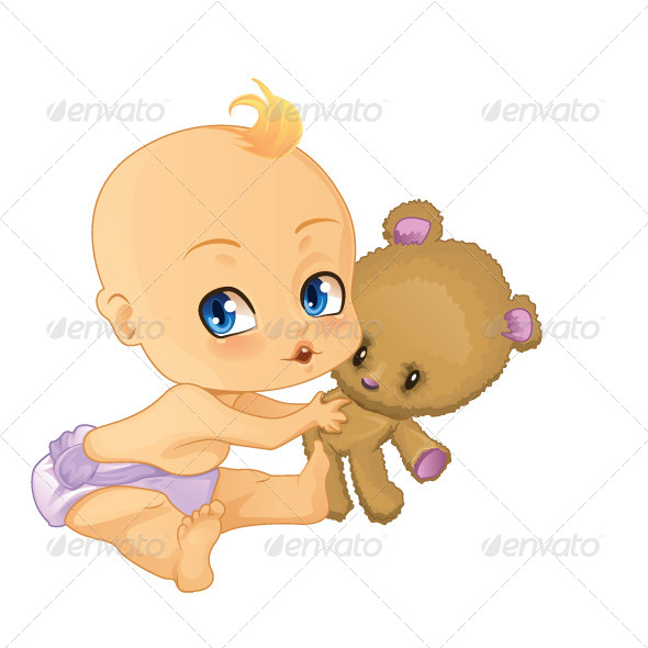 GraphicRiver Baby Boy Playing with Teddy Bear 5688673