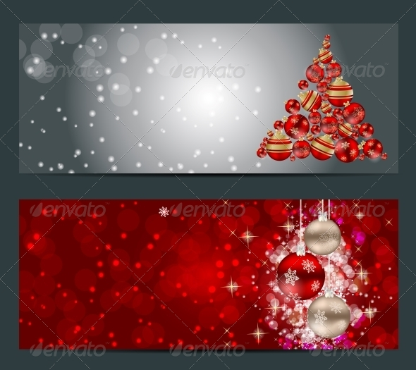 Set of Cards with Christmas Balls, Stars and Snowflakes