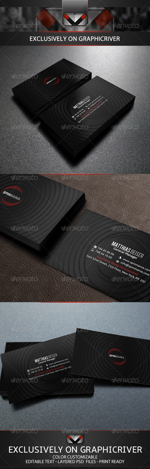 GraphicRiver Elegant Black Business Card 5690774