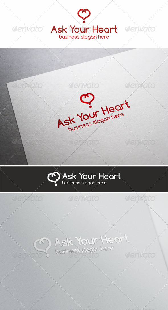 Ask Your Heart \ Love Quiz Logo - Vector Abstract