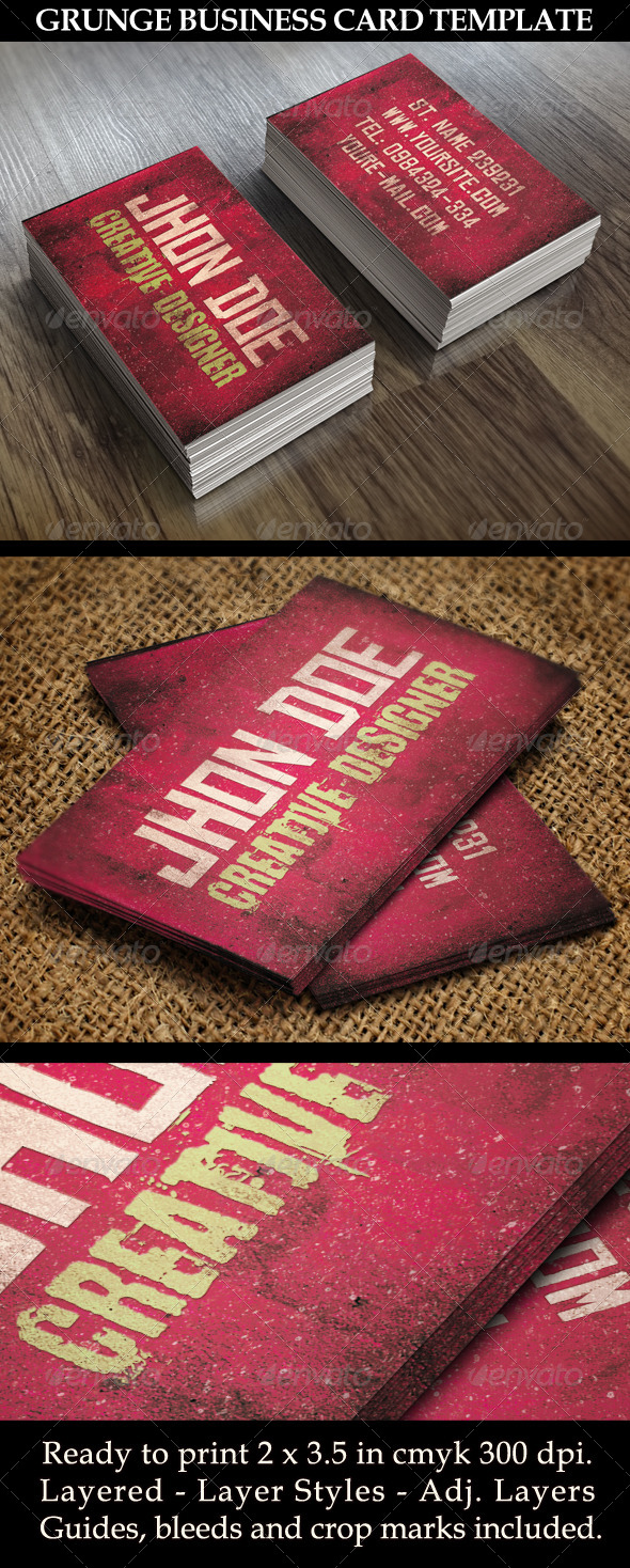 GraphicRiver Grunge Style Business Card Template 5611879