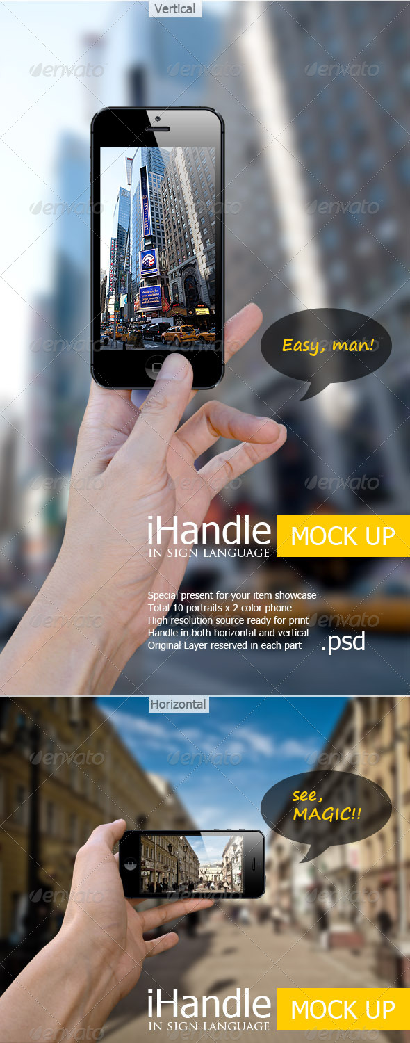 GraphicRiver iHandle Phone Showcase Mock-Up 5673319