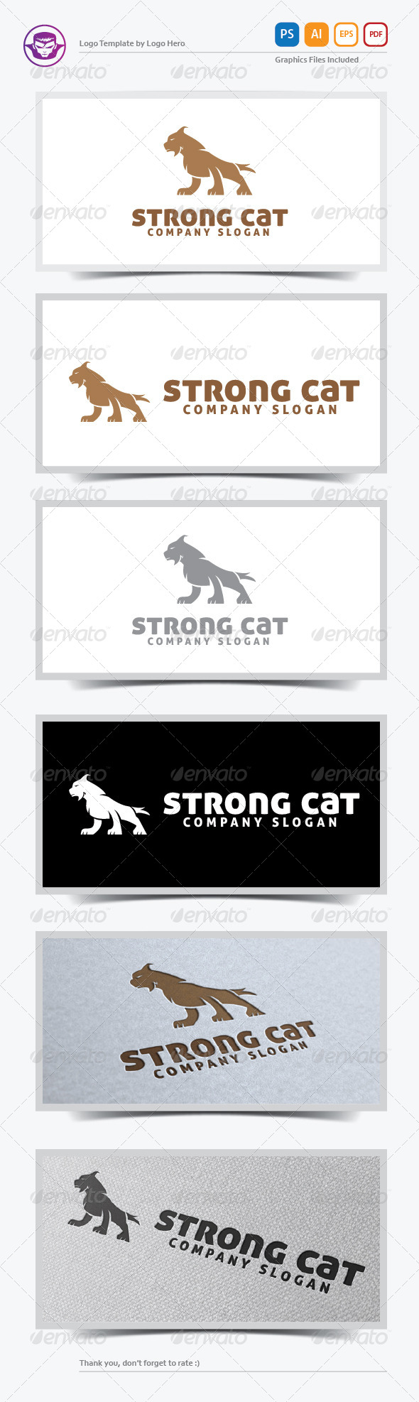 GraphicRiver Strong Cat Logo Template 5691060