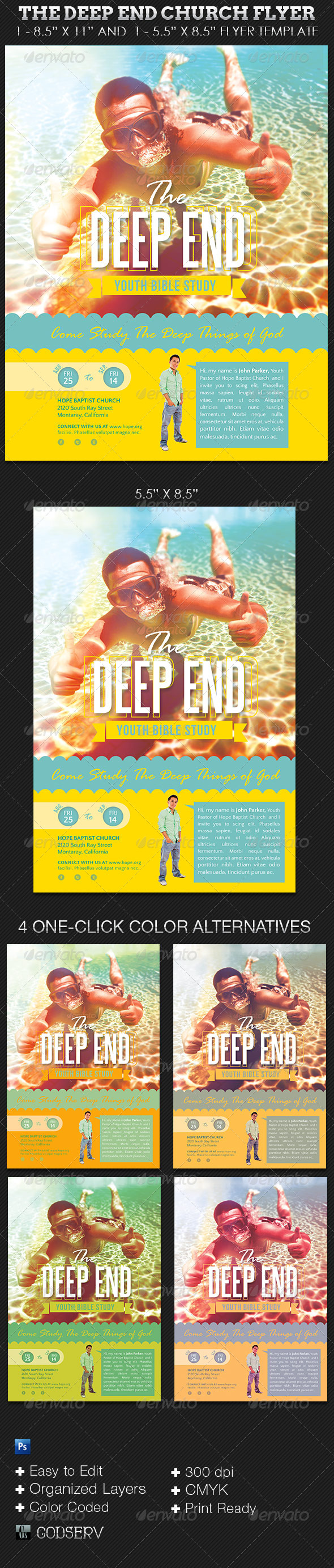 GraphicRiver The Deep End Youth Church Flyer Template 5691842