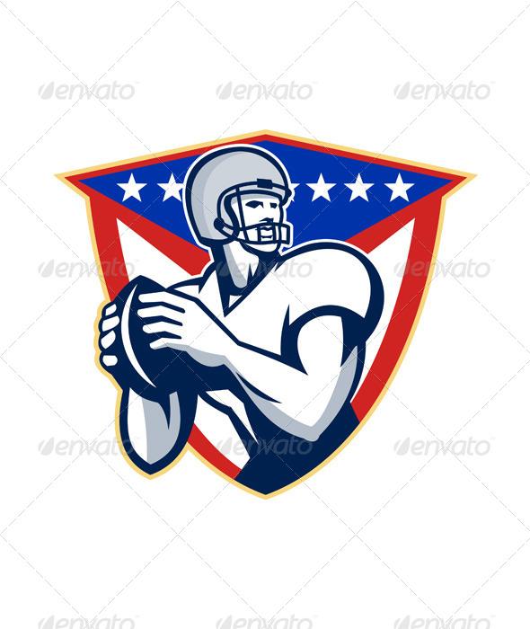 GraphicRiver American Football Quarterback Throw Ball 5692251