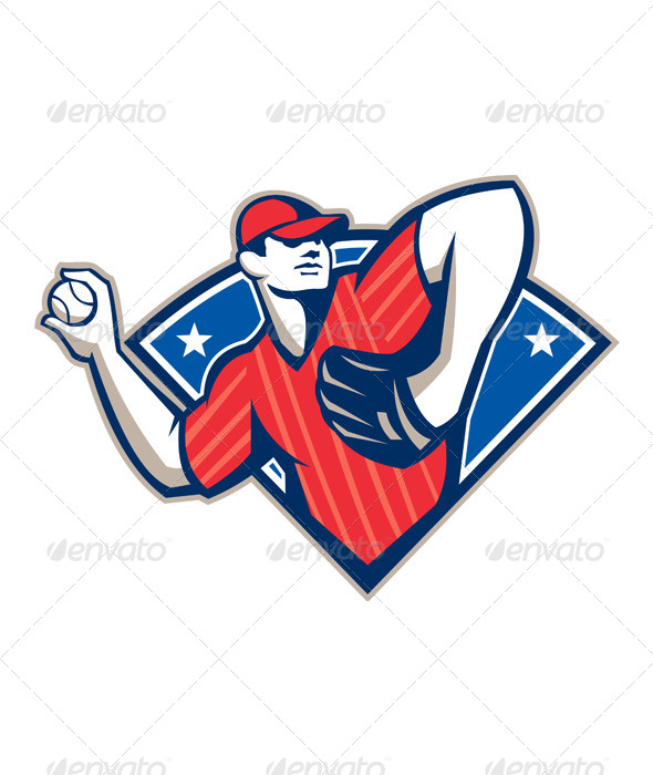 GraphicRiver Baseball Pitcher Throwing Ball Retro 5692256