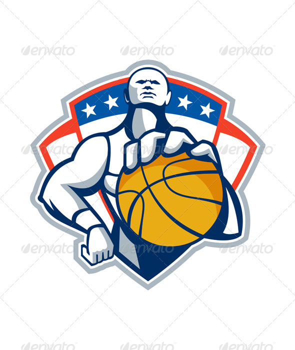 GraphicRiver Basketball Player Holding Ball Crest Retro 5692305