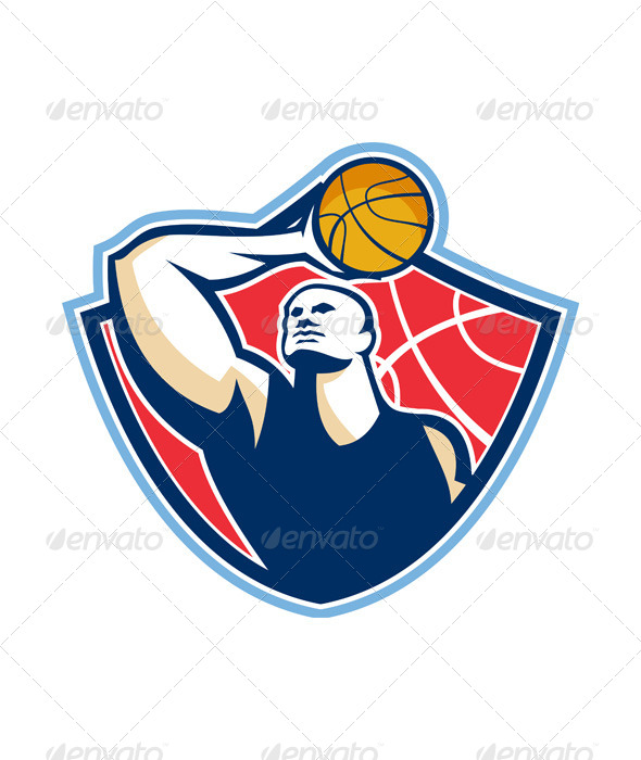 GraphicRiver Basketball Player Rebounding Ball Retro 5692312