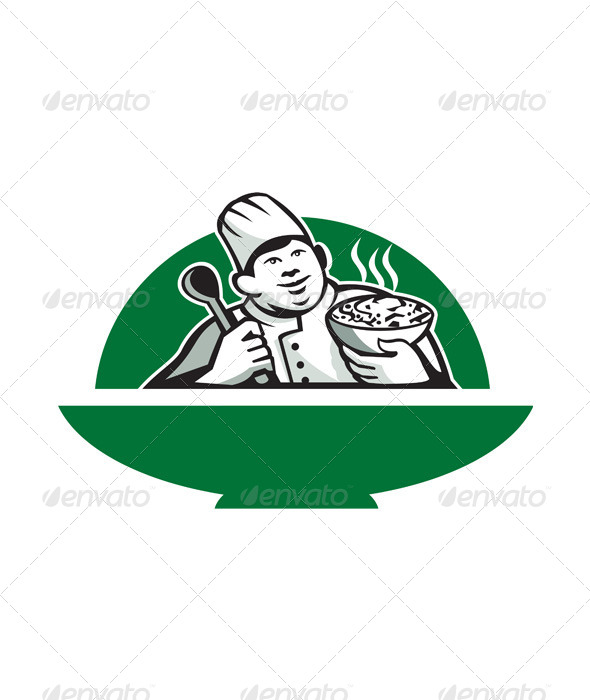 GraphicRiver Fat Chef Cook Holding Bowl Spoon Retro 5692320