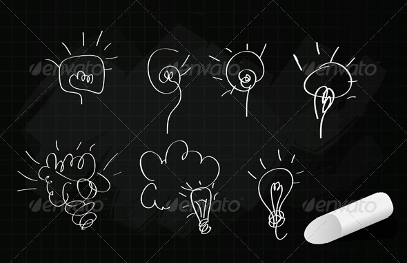 GraphicRiver Board Idea Bulb Sketches Illustration 5693500
