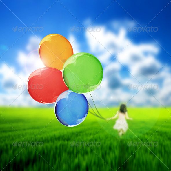 Flying balloons - Stock Photo - Images