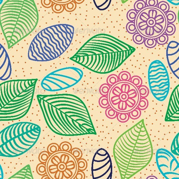 GraphicRiver Colorful Seamless Pattern of Flowers Leaves 5693737