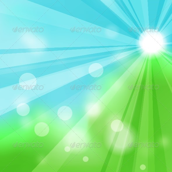 GraphicRiver Natural Green Abstract Background with the Rays 5693841