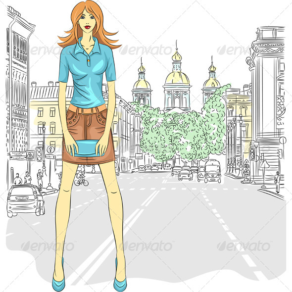 Vector Fashion Girl in St. Petersburg - People Characters