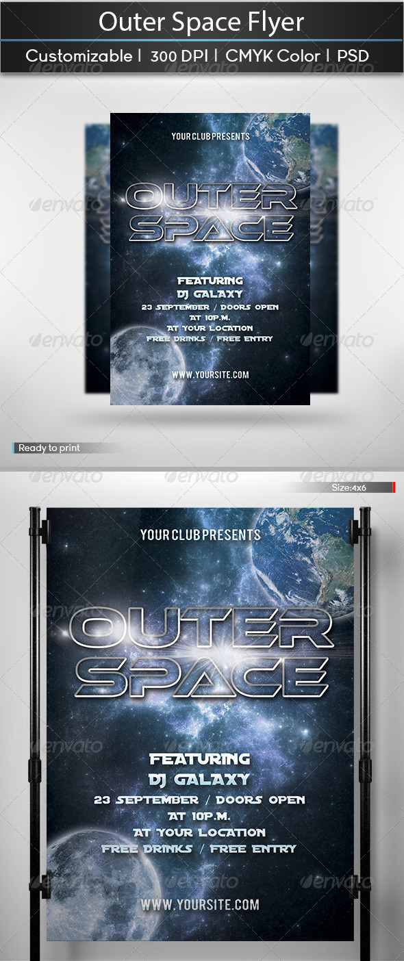 GraphicRiver Outer Space Party Flyer 5549477