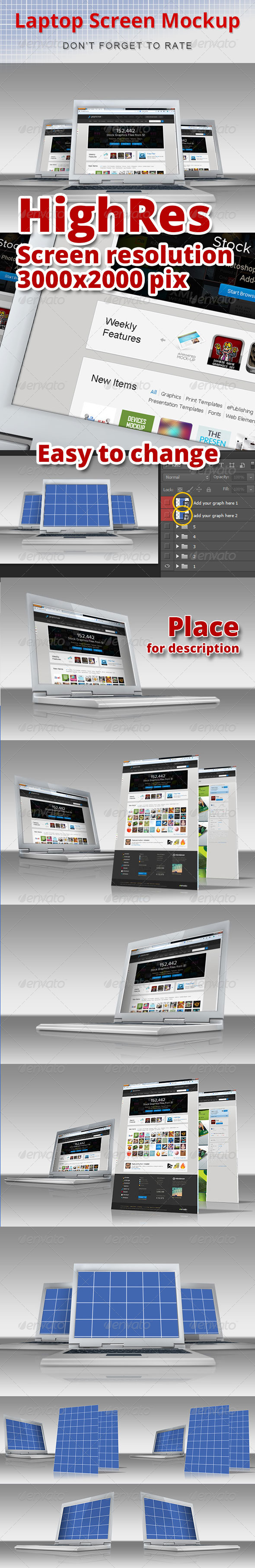 WEB & Laptop Mockup - Laptop Displays