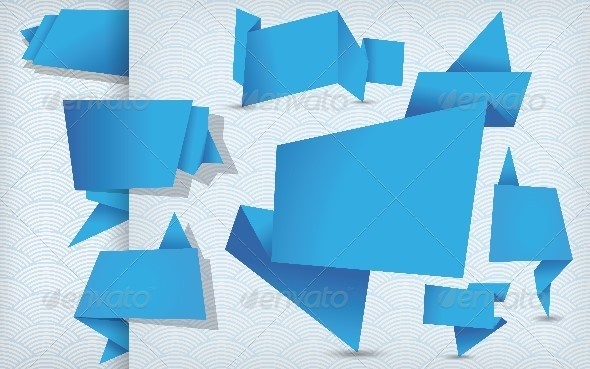 GraphicRiver Set of Blue Origami Tags Banners and Labels 5695293