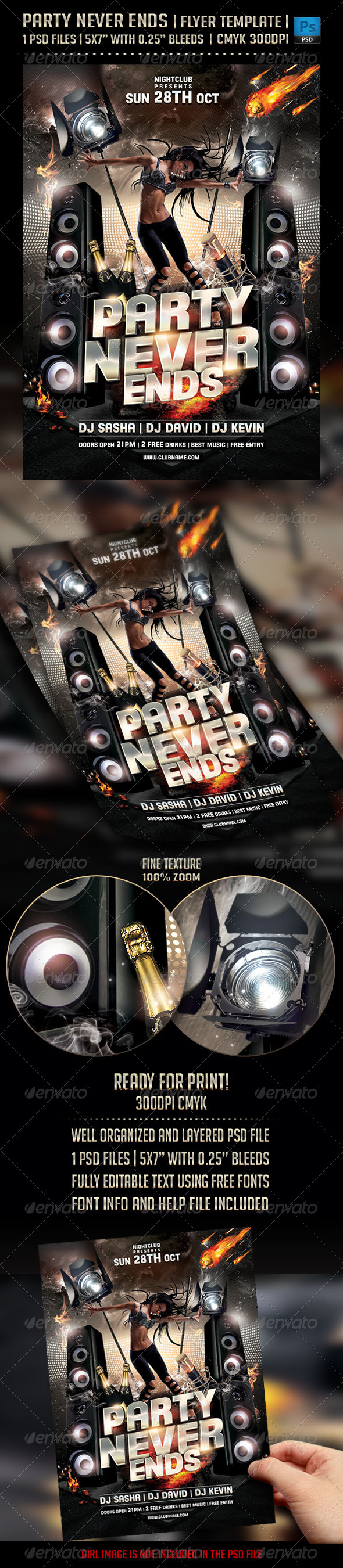 GraphicRiver Party Never Ends Flyer Template 5695350