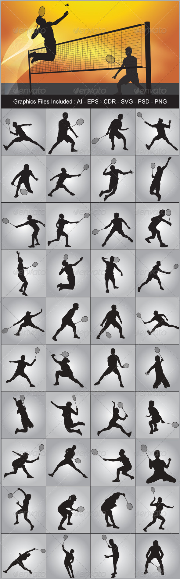 GraphicRiver Badminton Silhouettes 5695505