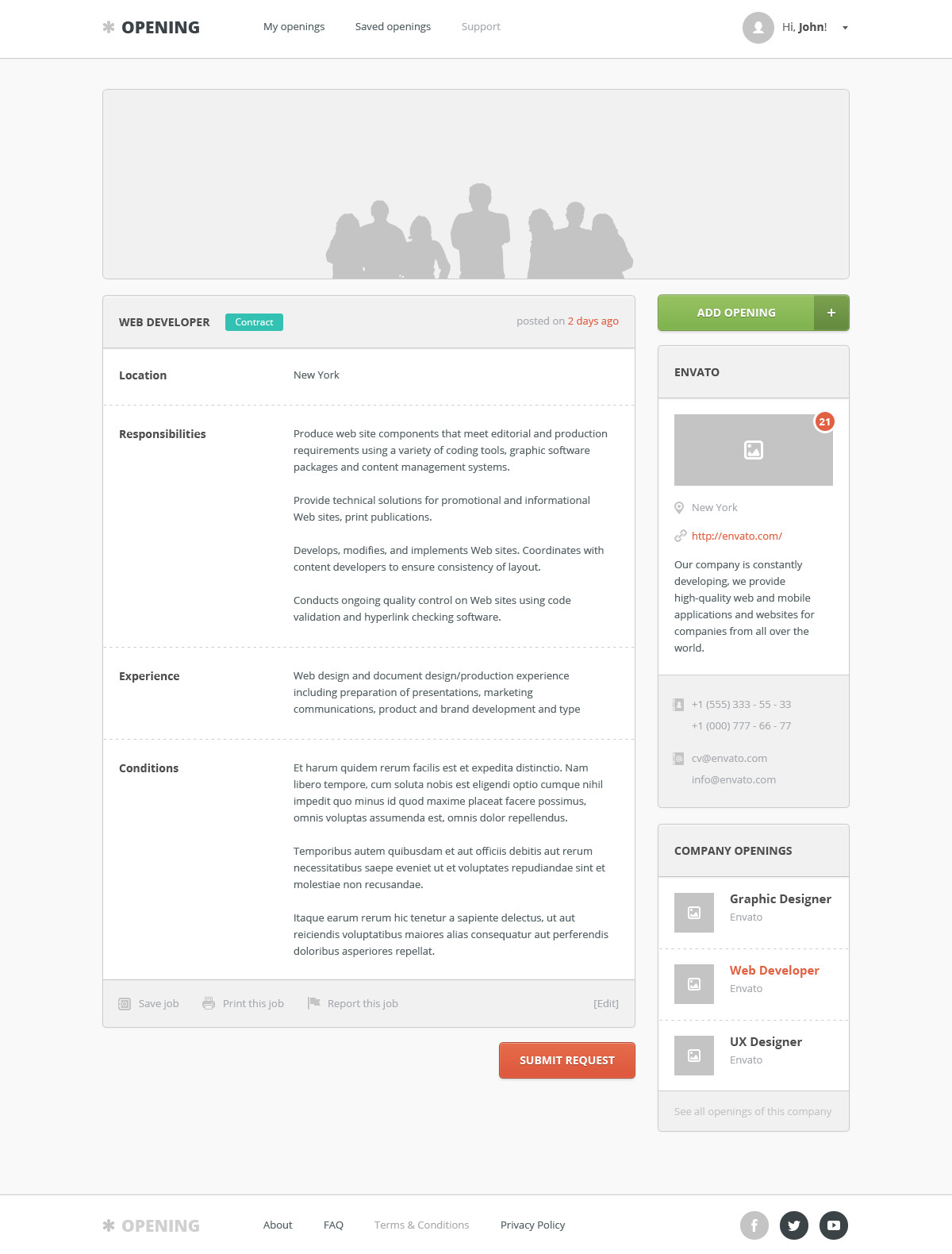 Opening - Job Board PSD Template