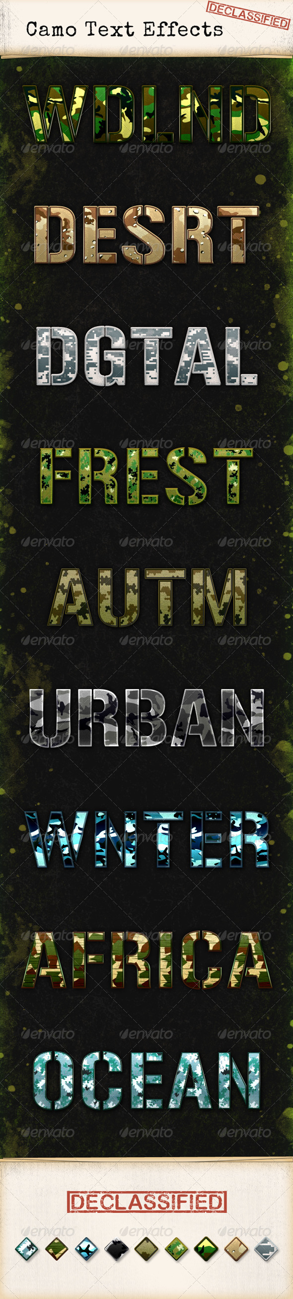 GraphicRiver Nine Camouflage Text Effects 5696050