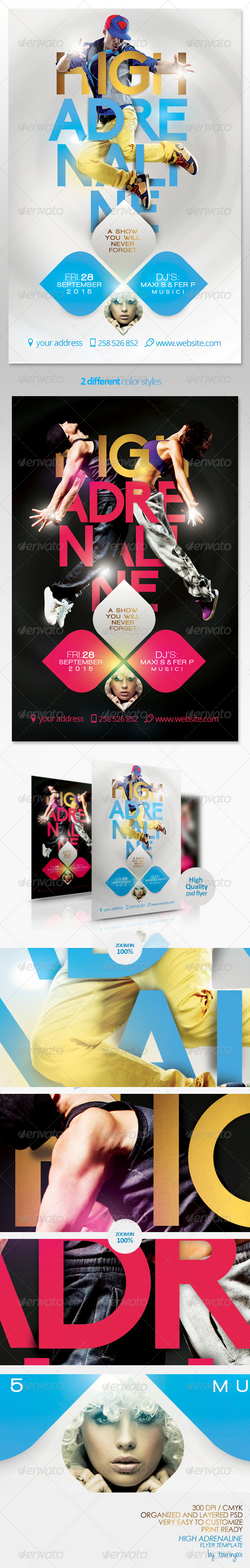 High Adrenaline Flyer Template - Clubs & Parties Events