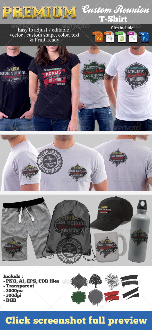 GraphicRiver Premium Custom Reunion T-Shirt Template 5697033
