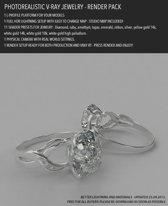 Photorealistic Jewelry Render Pack for V-Ray - 3DOcean Item for Sale
