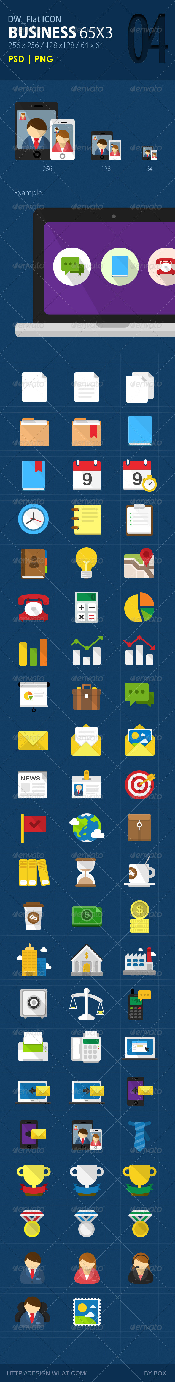 GraphicRiver 65 Flat Icons Business 5697578