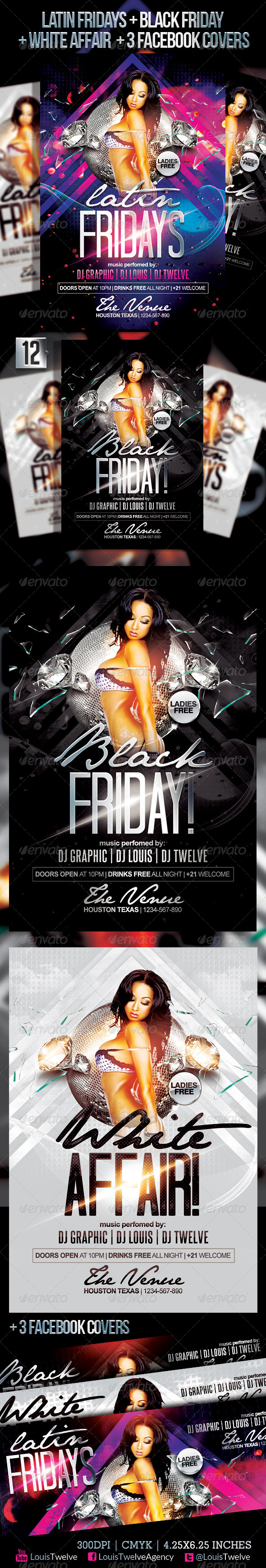 Latin Fridays & White Affair Flyer & FB Covers