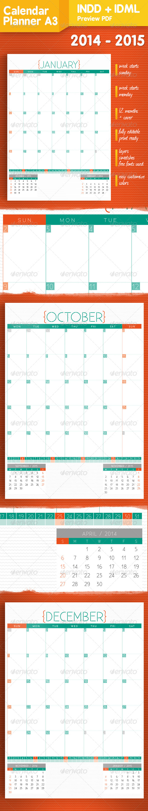 GraphicRiver Wall Calendar-Planner 2014-2015 5698233
