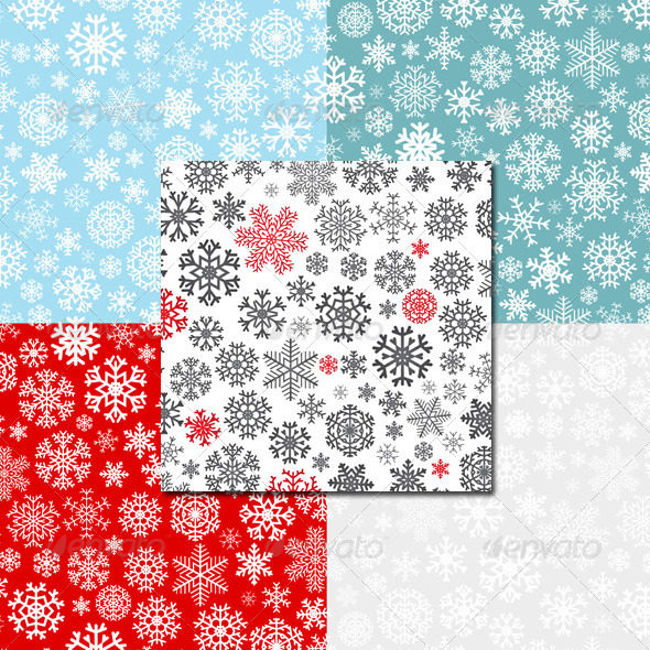GraphicRiver Christmas Seamless Patterns from Snowflakes 5698314