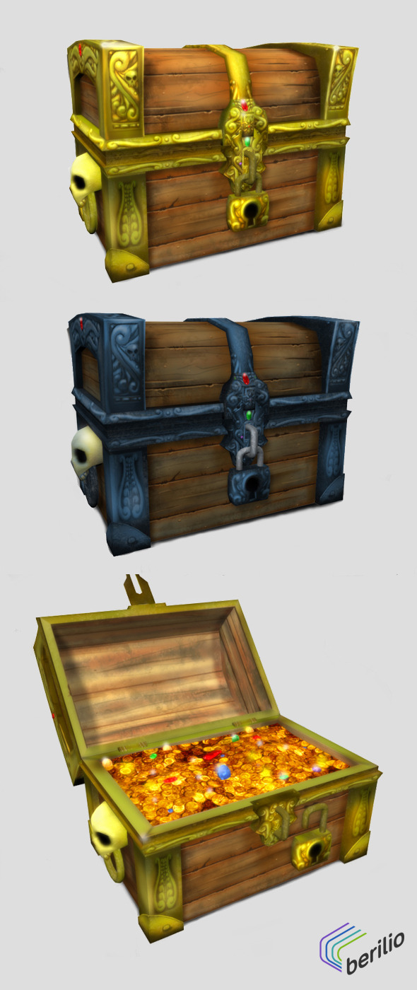 3DOcean Low Poly Cartoonish Pirate Treasure Chest 5698592
