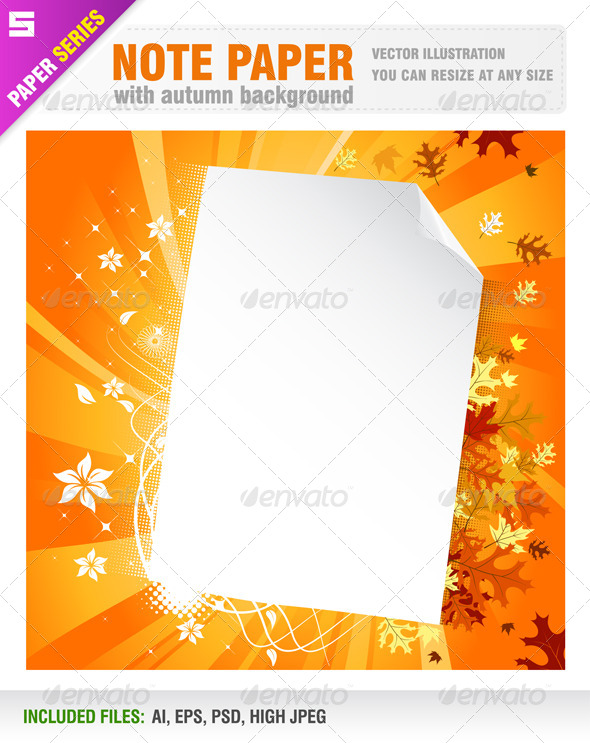 GraphicRiver Note paper with autumn background 5699725