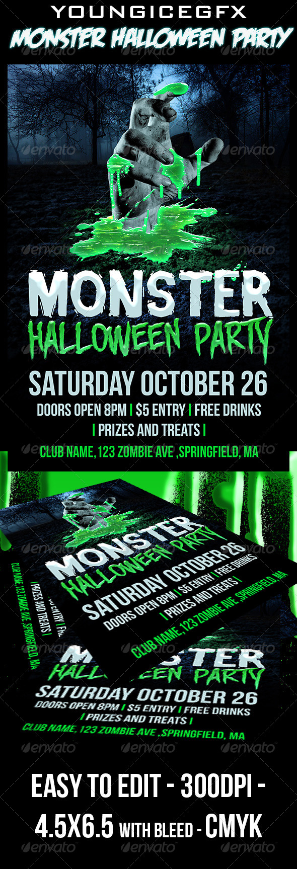GraphicRiver Monster Halloween Party Flyer 5615423