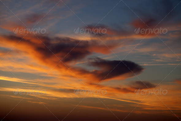 Fiery sunrise sky - Stock Photo - Images