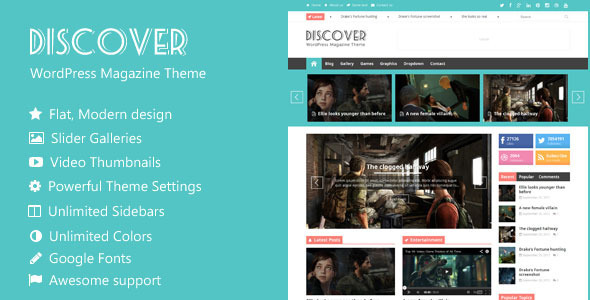 Discover - Flat WordPress Magazine Theme - Blog / Magazine WordPress